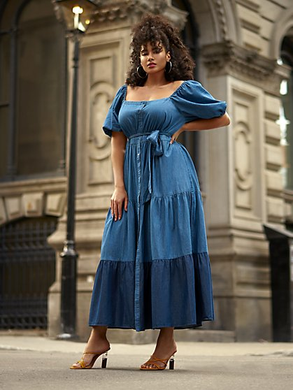 Plus Size Nicky Denim Puff Sleeve Maxi Dress - Gabrielle Union x FTF - Fashion To Figure