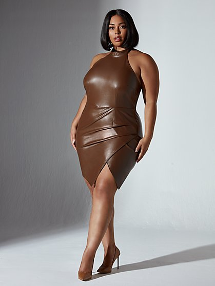 Plus Size Nicole Mockneck Faux Leather Halter Dress - Fashion To Figure