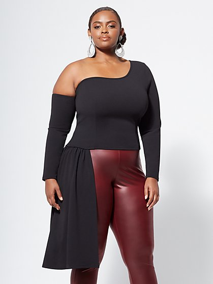 Plus Size Nicole One-Shoulder Drama Top - Fashion To Figure