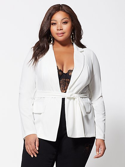 Plus Size Nicole Tie-Front Blazer - Fashion To Figure