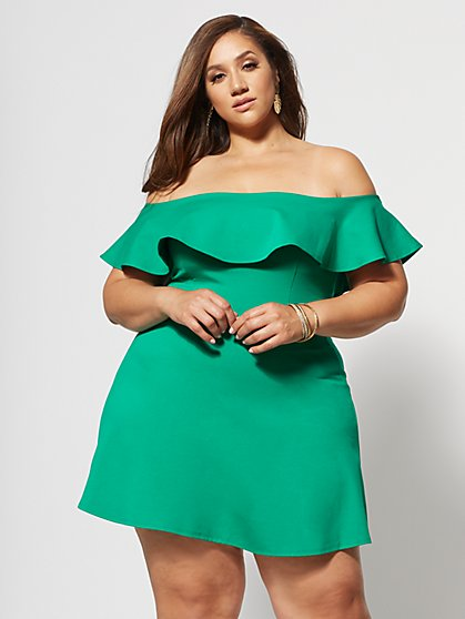 Plus Size Nicoletta Off Shoulder Ruffle Dress - Fashion To Figure