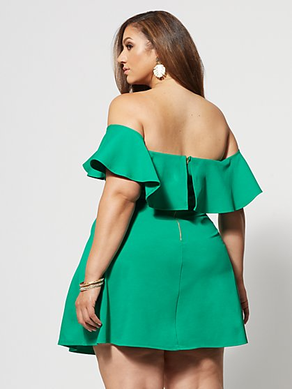 3b74c7791d ... Plus Size Nicoletta Off Shoulder Ruffle Dress - Fashion To Figure ...