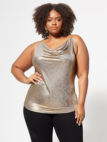 Plus Size Nicolette Silver Drape Tank Top - Fashion To Figure