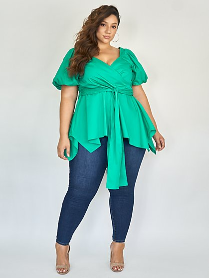 Plus Size Nika Puff Shoulder Peplum Top - Fashion To Figure