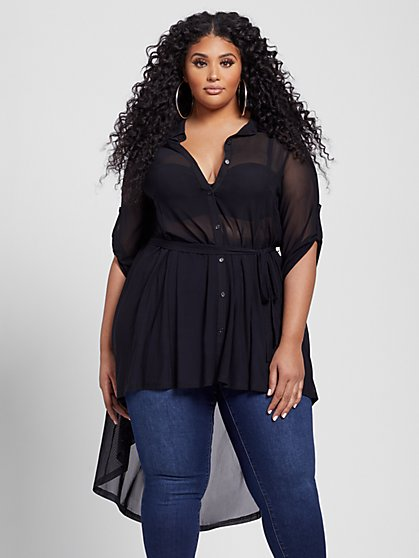 Plus Size Nikita Belted Mesh Tunic - Fashion To Figure