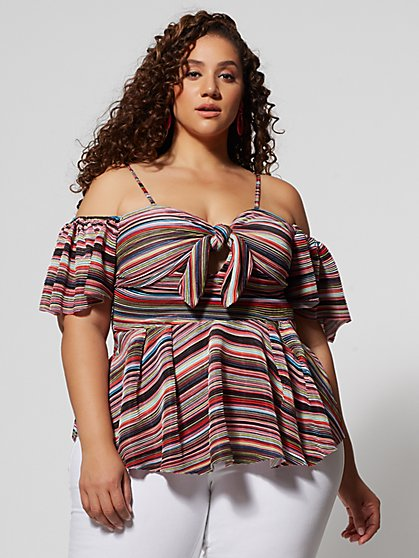 Plus Size Nikita Stripe Peplum Top - Fashion To Figure