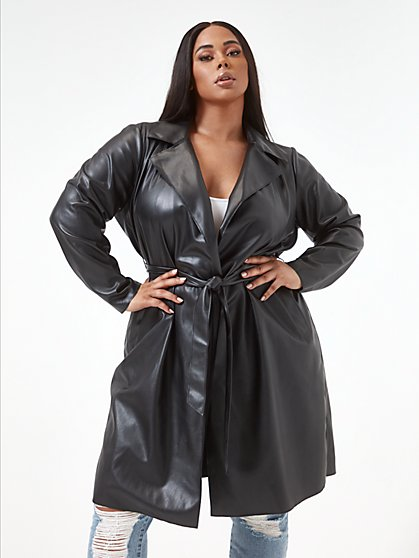 Plus Size Nina Faux Leather Trench Coat - Fashion To Figure