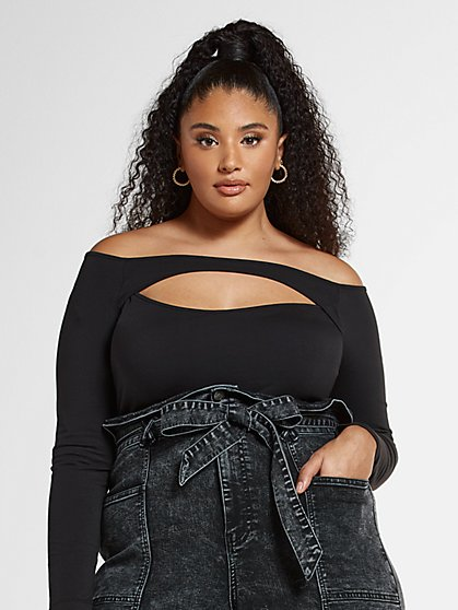 Plus Size Noelle Off The Shoulder Cutout Bodysuit - Fashion To Figure