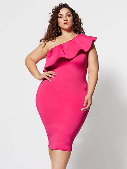Plus Size Noelli Ruffle Bodycon Midi Dress - Fashion To Figure