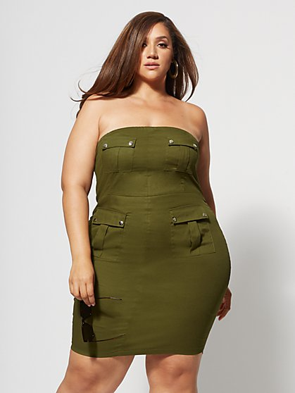 06bdfcb0d47bf2 Plus Size Noletta Cargo Bodycon Dress - Fashion To Figure ...