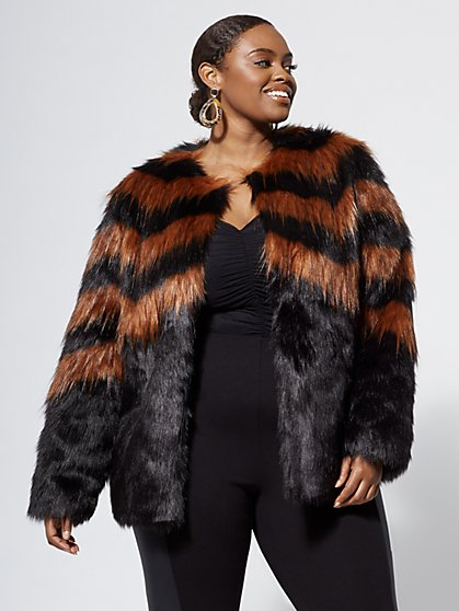 Plus Size Nora Faux-Fur Coat - Fashion To Figure