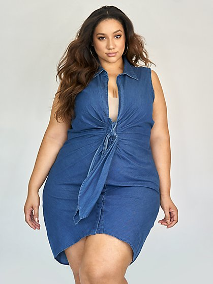 Plus Size Norah Sleeveless Knot Front Denim Dress - Fashion To Figure