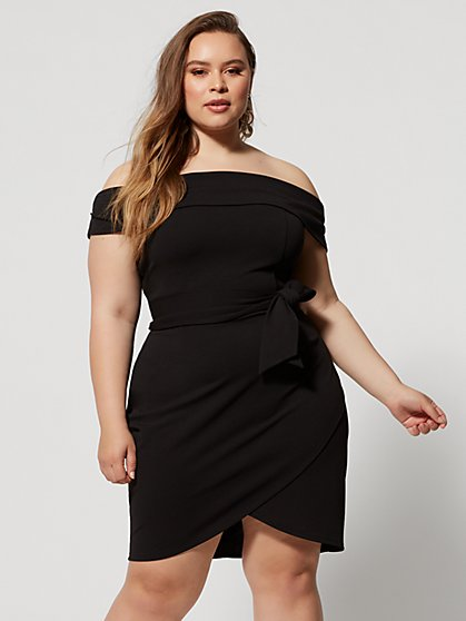 Plus Size Nydia Off Shoulder Tie-Detail Dress - Fashion To Figure