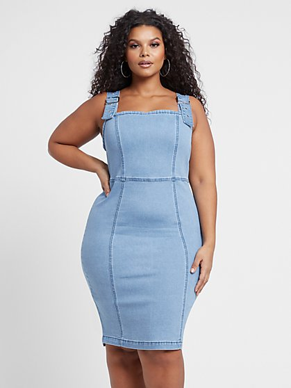 Plus Size Oaklyn Overall Denim Dress - Fashion To Figure