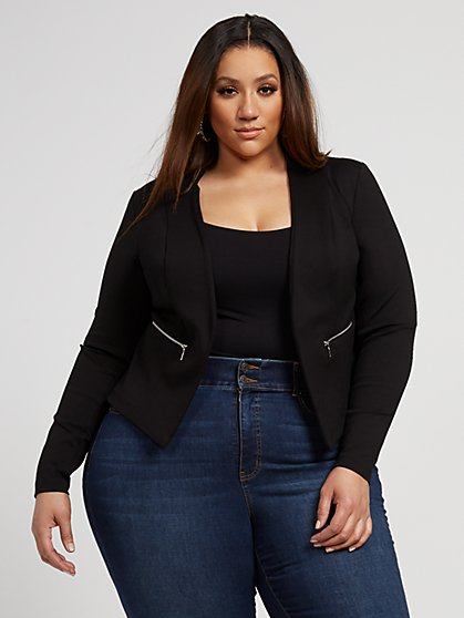 Plus Size Octavia Black Zipper Detail Ponte Knit Blazer - Fashion To Figure