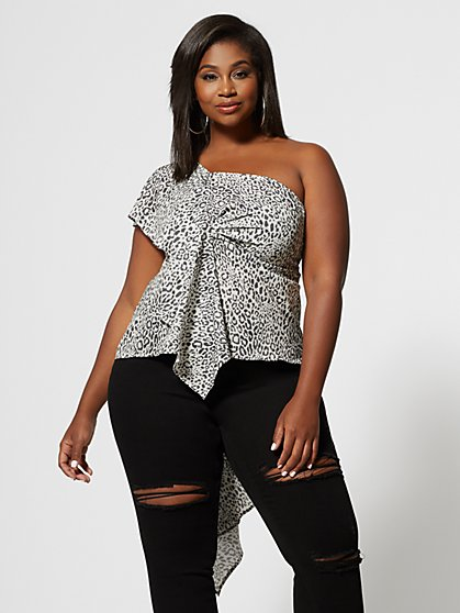 Plus Size Odetta One Shoulder Leopard Print Top - Fashion To Figure