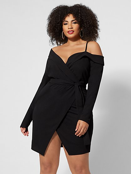 Plus Size Off-Shoulder Tuxedo Dress - Fashion To Figure