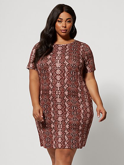 a9ee971d3a3 Plus Size Olinda Snake Print T-Shirt Dress - Fashion To Figure