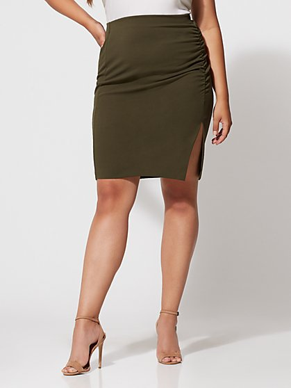 Plus Size Olive Cinched Pencil Skirt - Fashion To Figure