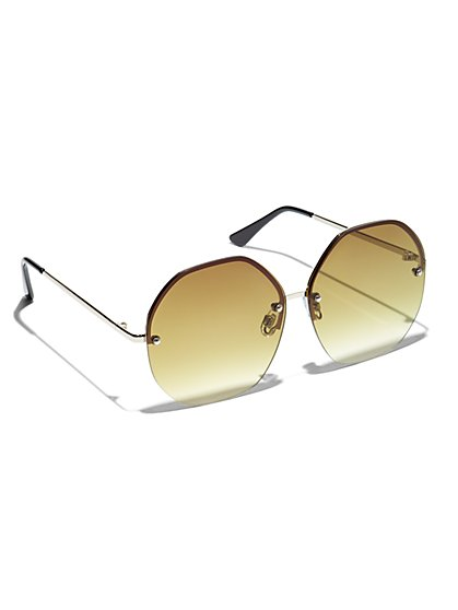 Plus Size Olive Hexagonal Sunglasses - Fashion To Figure