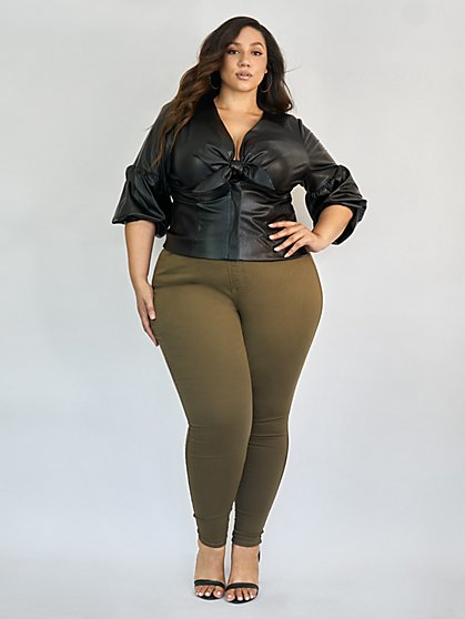 Plus Size Olive High-Rise Jeggings - Tall Inseam - Fashion To Figure