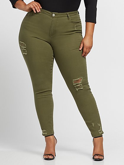 Plus Size Olive Mid-Rise Destructed Skinny Jeans - Fashion To Figure