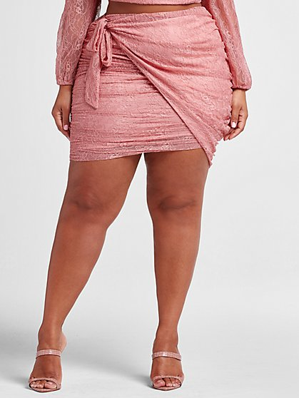 Plus Size Olivia Side Tie Ruched Lace Skirt - Fashion To Figure