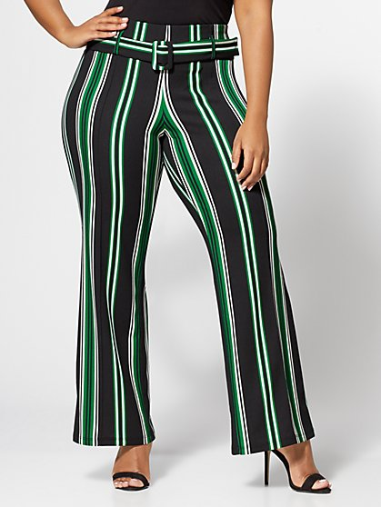 Plus Size Olivia Stripe Wide Leg Pants - Fashion To Figure