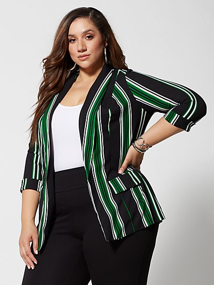 Plus Size Olivia Striped Long Blazer - Fashion To Figure