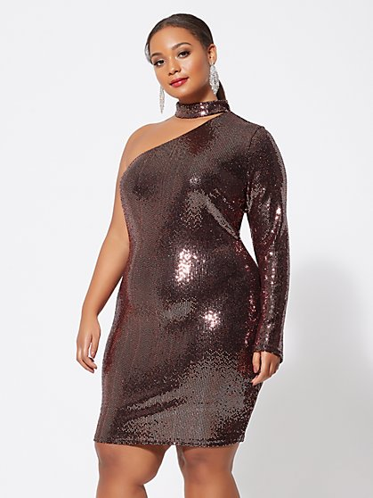 Plus Size One-Shoulder Metallic Bodycon Dress - Fashion To Figure