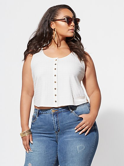 Plus Size Ophelia Button-Up Tank Top - Fashion To Figure