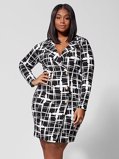 Plus Size Ophelia Buttoned Blazer Dress - Fashion To Figure