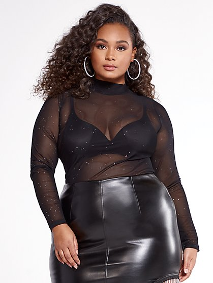 Plus Size Opportunity Sparkle Mesh Top - SRV x FTF - Fashion To Figure
