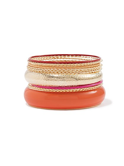 Plus Size Orange & Gold-Tone Bangle Set - Fashion To Figure