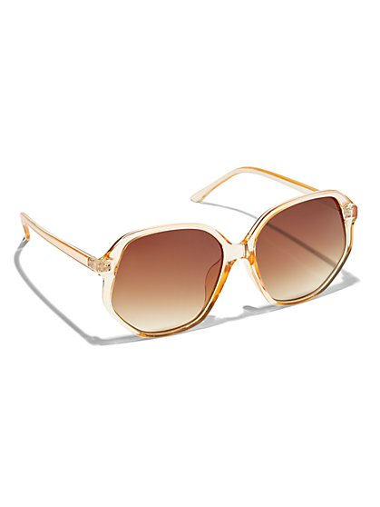 Plus Size Orange Hexagonal Sunglasses - Fashion To Figure