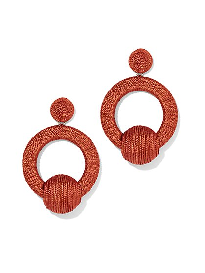 Plus Size Orange Wrapped Hoop Drop Earring - Fashion To Figure