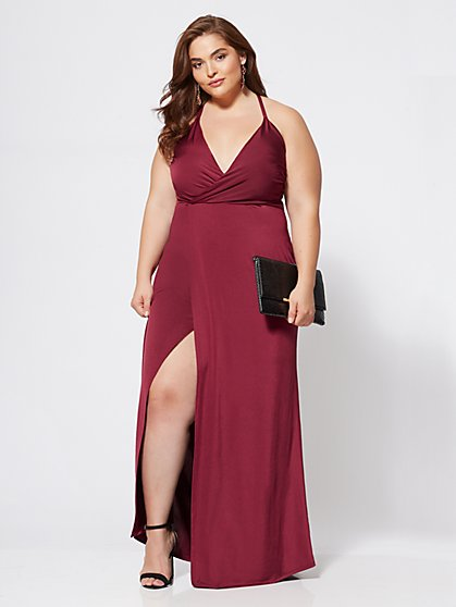 Plus Size Orchid Slip Maxi Dress - Fashion To Figure