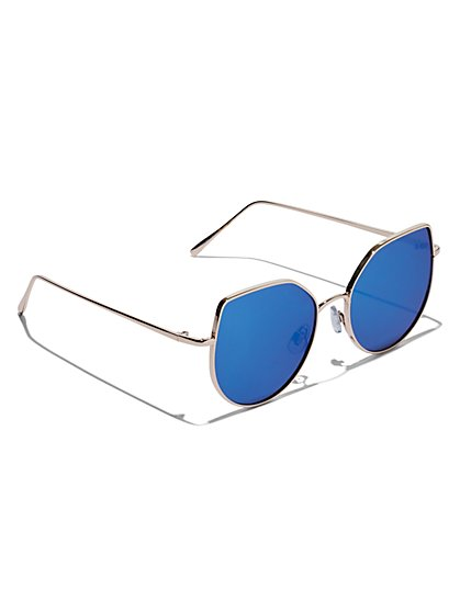 Plus Size Overiszed Blue Lens Sunglasses - Fashion To Figure
