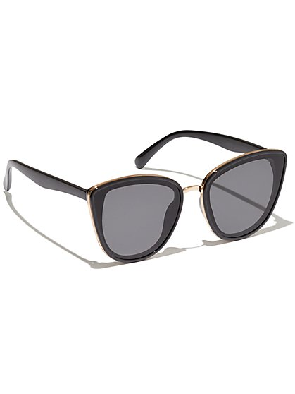 Plus Size Oversized Black Cat Eye Sunglasses - Fashion To Figure