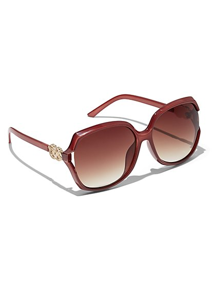 Plus Size Oversized Dark Red Sunglasses - Fashion To Figure