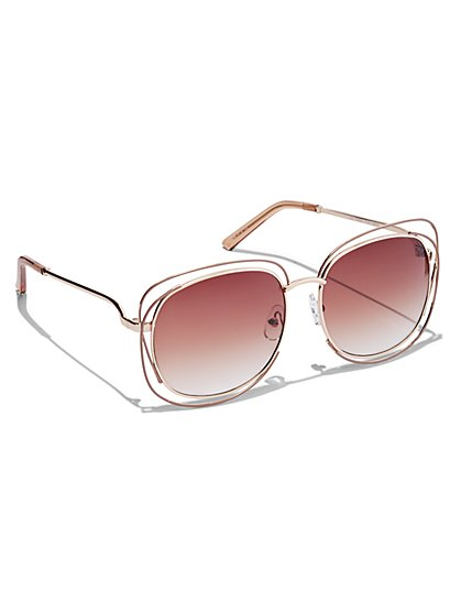 Plus Size Oversized Metal Brow Sunglasses - Fashion To Figure