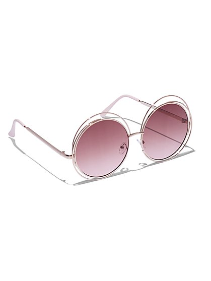 Plus Size Oversized Rose Gold-Tone Sunglasses - Fashion To Figure