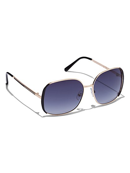 Plus Size Oversized Square Metal Sunglasses - Fashion To Figure