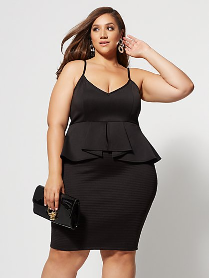 Plus Size Padmini Peplum Bodycon Dress - Fashion To Figure
