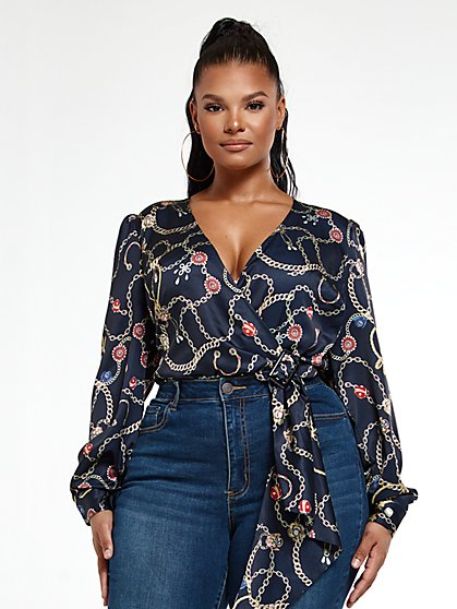 Plus Size Paige Chain Print Bodysuit - Fashion To Figure