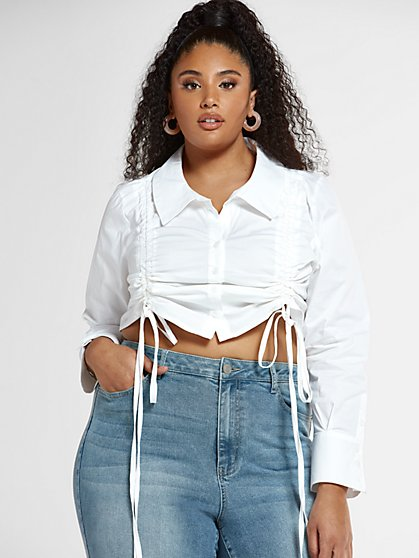 Plus Size Paige Double Drawstring Shirt - Fashion To Figure