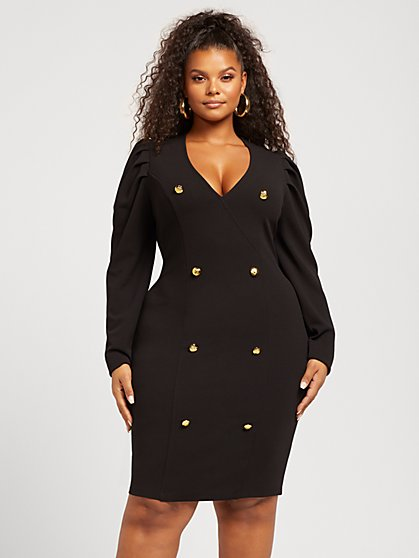 Plus Size Paige Puff Sleeve Bodycon Dress - Fashion To Figure