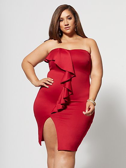 Plus Size Paige Ruffle Front Bodycon Dress - Fashion To Figure