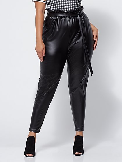 Plus Size Palley Faux-Leather Paperbag Pants - Fashion To Figure