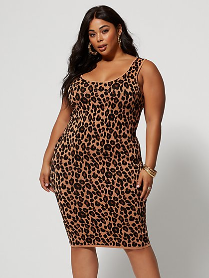 Plus Size Paloma Animal Print Sweater Dress - Fashion To Figure